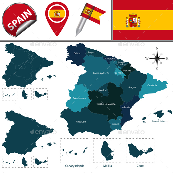 Map of Spain - Travel Conceptual