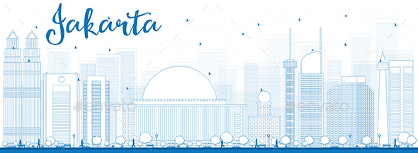 Outline Jakarta Skyline with Blue Landmarks - Buildings Objects