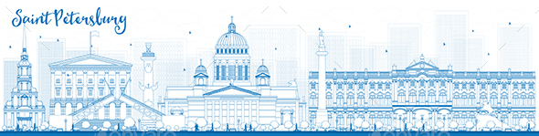 Outline Saint Petersburg Skyline with Blue Landmarks. - Buildings Objects