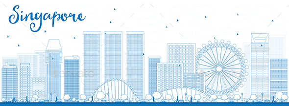Outline Singapore Skyline with Blue Landmarks - Buildings Objects