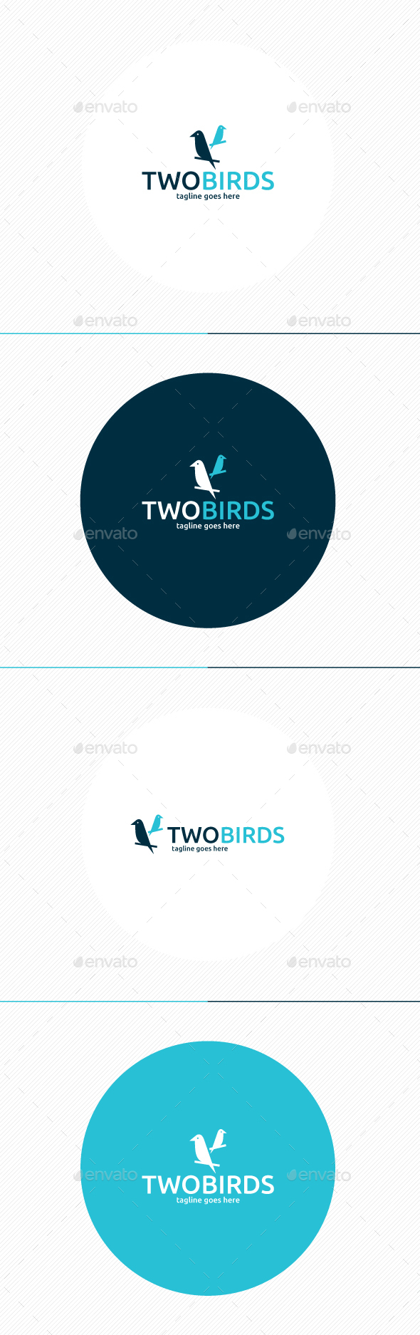 Two Birds Logo - Animals Logo Templates