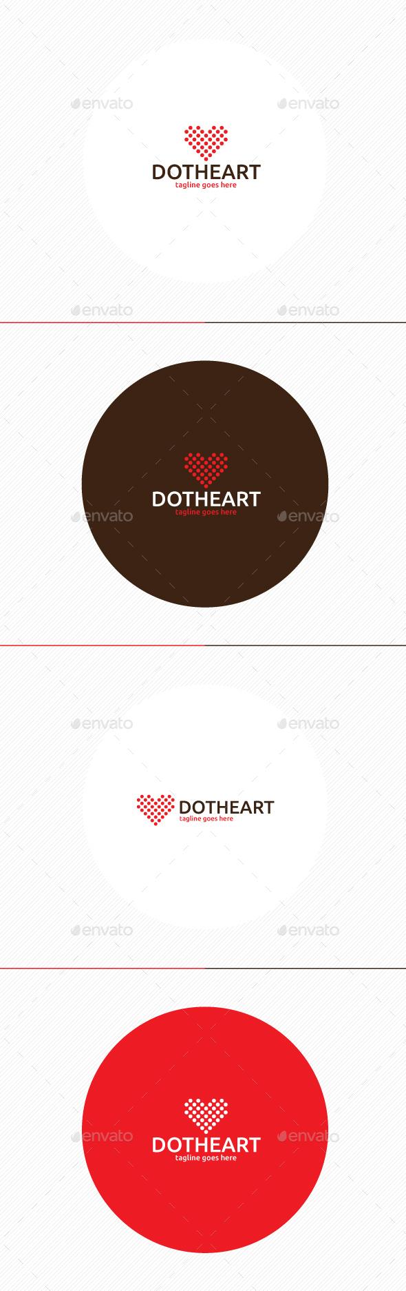 Dot Heart Logo - Symbols Logo Templates