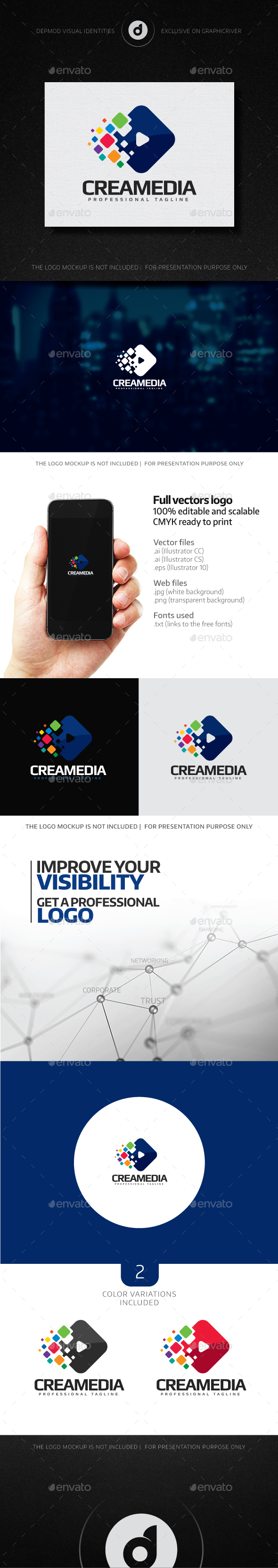 CreaMedia Logo - Abstract Logo Templates