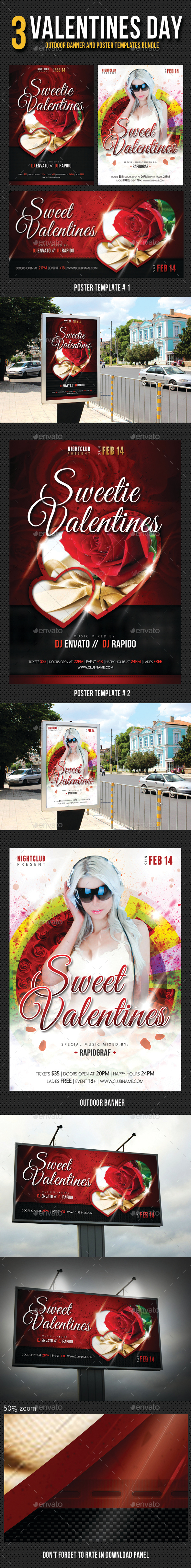 3 in 1 Valentines Day Posters and Banner Bundle - Signage Print Templates