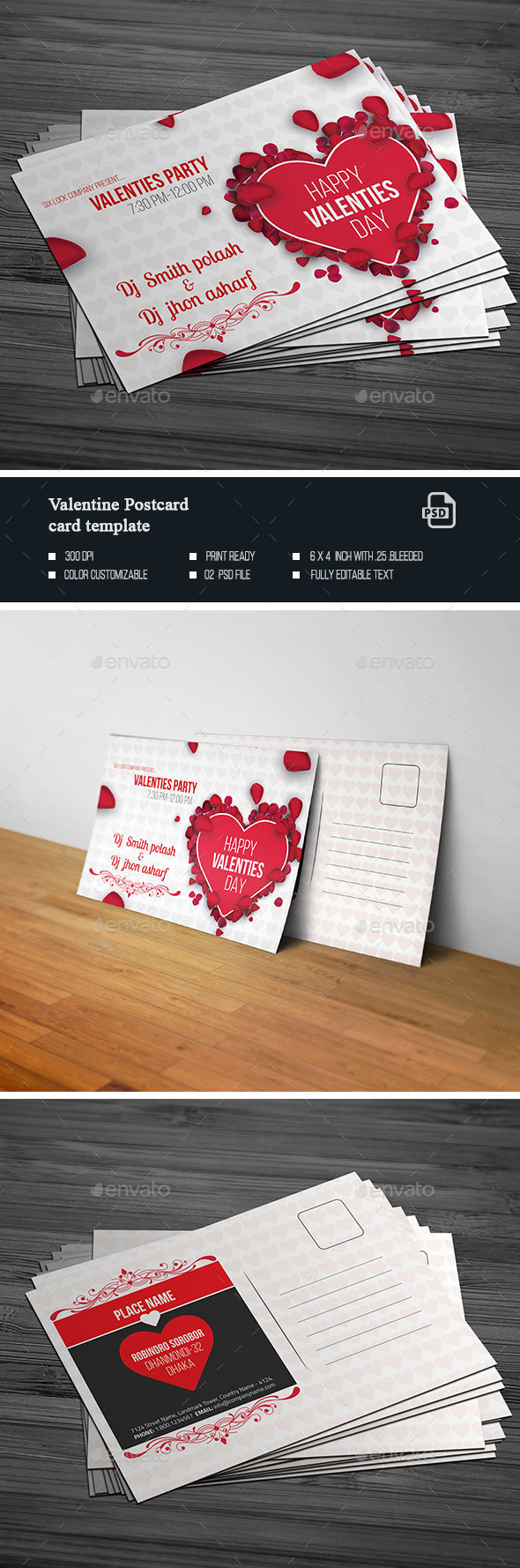 Valentine Post Card - Cards & Invites Print Templates