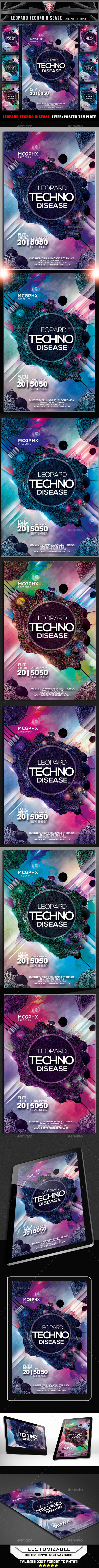 Leopard Techno Disease Flyer Template - Clubs & Parties Events