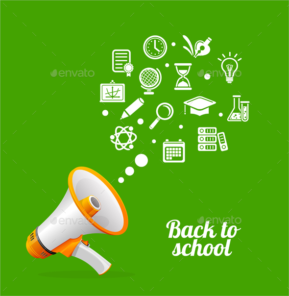 Megaphone and Icons Back to School Concept - Miscellaneous Conceptual