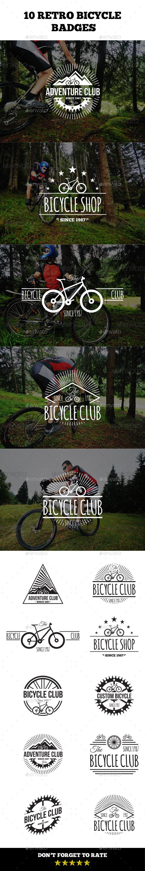 Retro Bicycle Badges - Badges & Stickers Web Elements