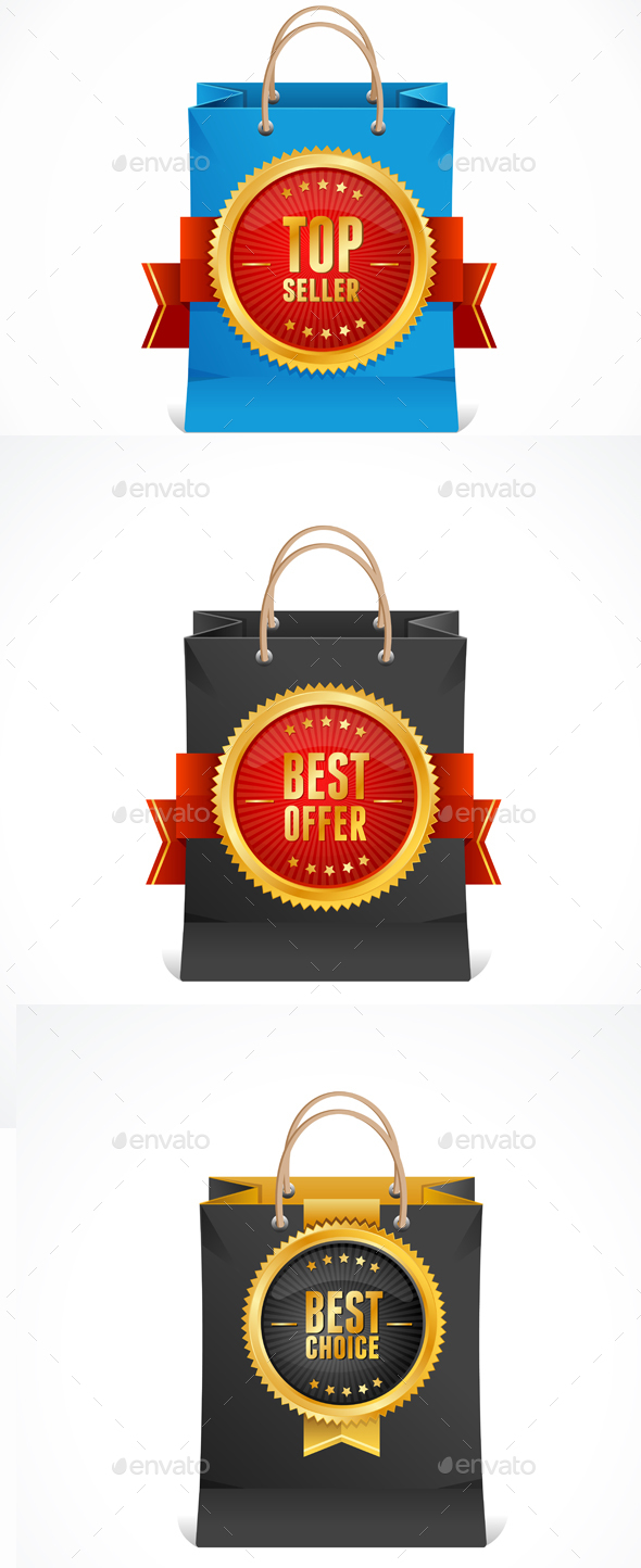 Paper Bag and Gold Label - Retail Commercial / Shopping