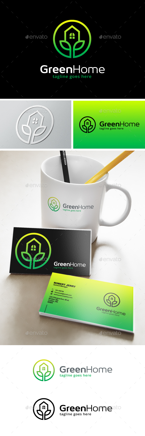 Green Home Residence Logo - Buildings Logo Templates