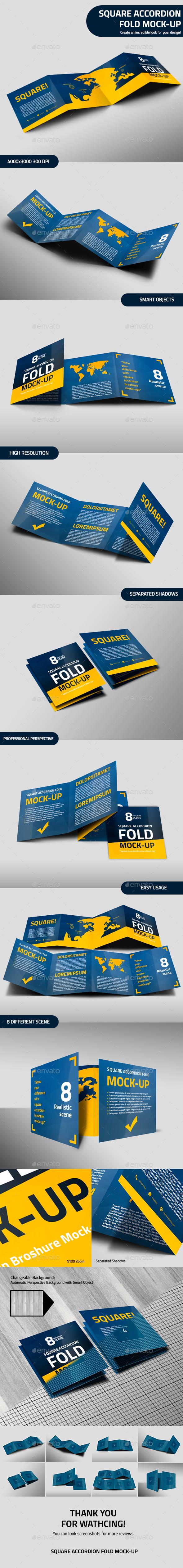 Square Accordion Fold Brochure Mock-Up - Brochures Print