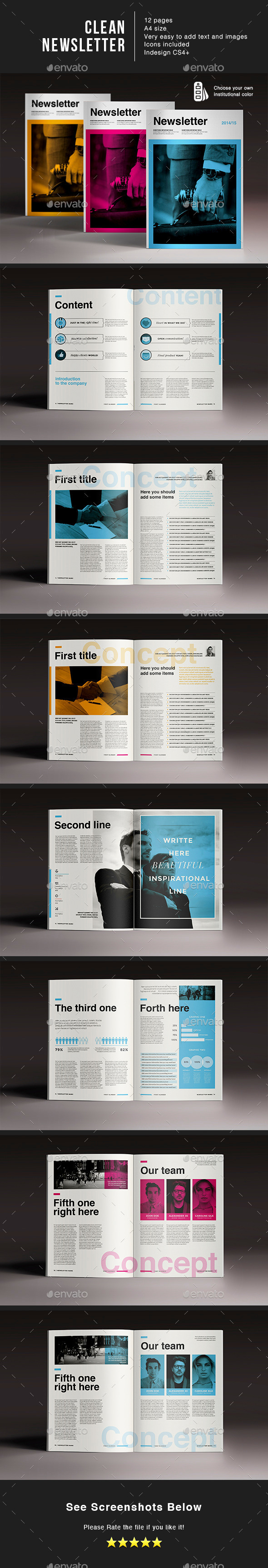 Clean Newspaper - Brochures Print Templates