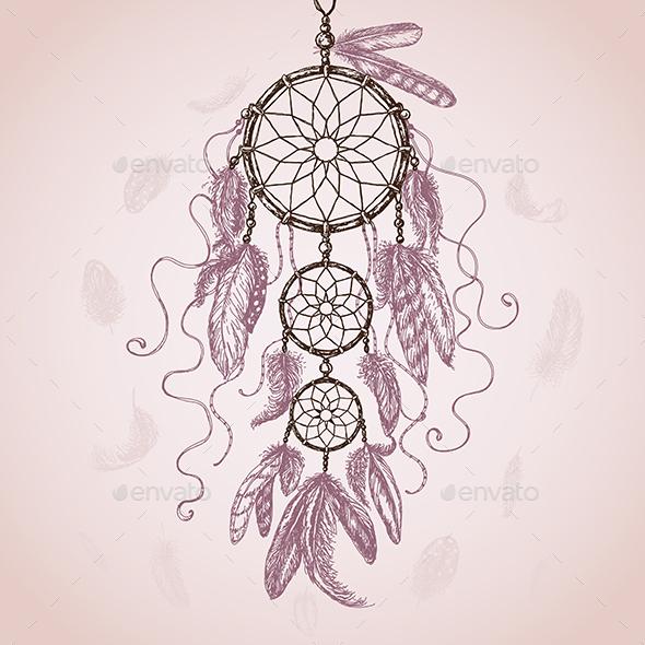 Hand Drawn Dream Catcher - Decorative Symbols Decorative