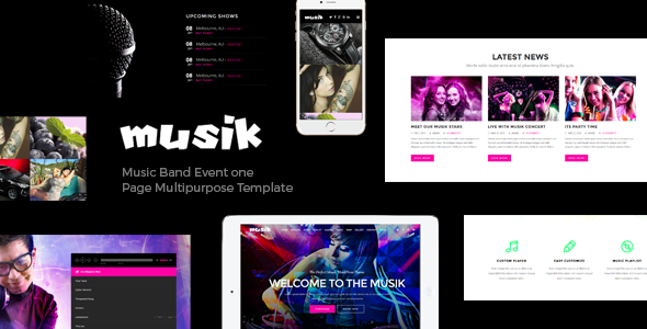 Musik – Music Bands, Artists, Musicians, Clubs OnePage Template