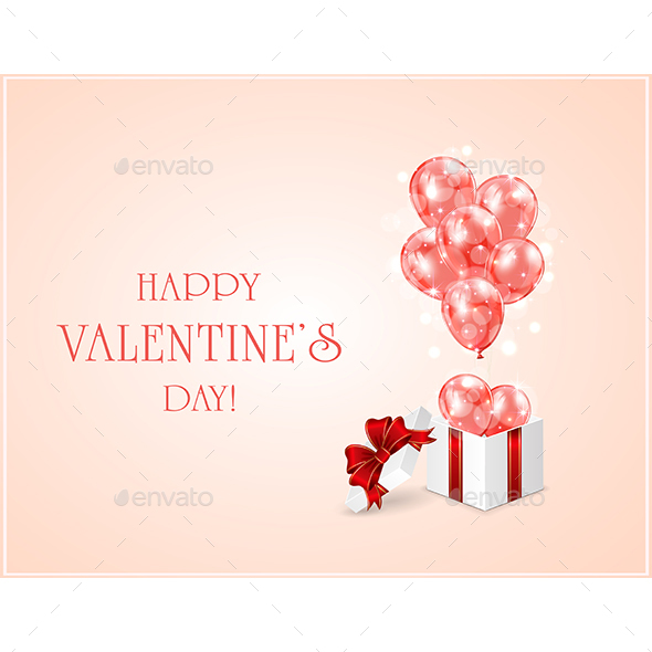 Red Valentines Balloons and Gift Box - Valentines Seasons/Holidays