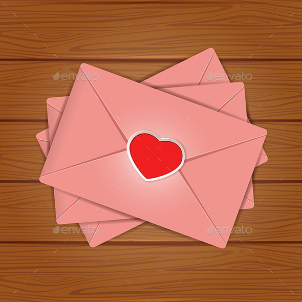 Set of Valentines on Wooden Background - Valentines Seasons/Holidays