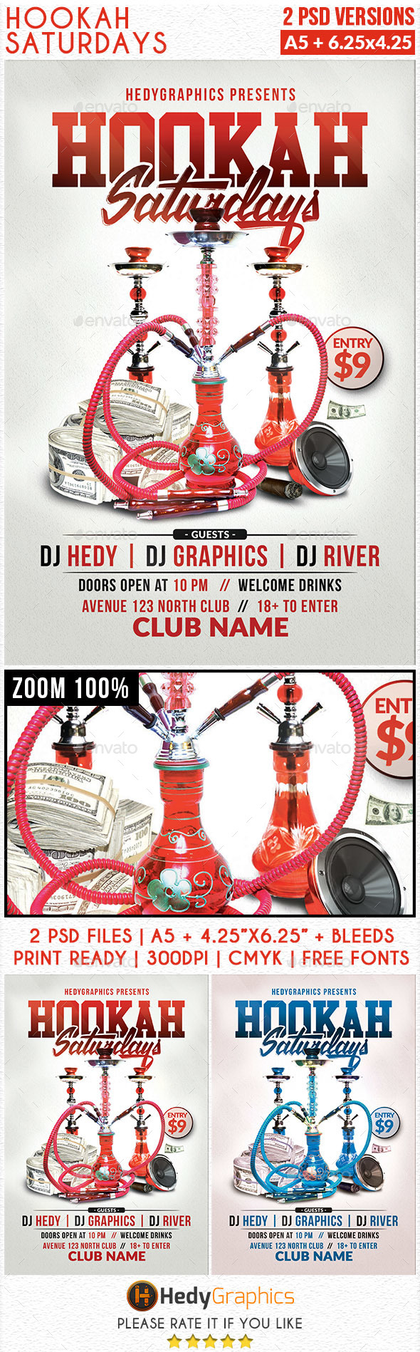 Hookah Saturdays - Flyer Template - Clubs & Parties Events