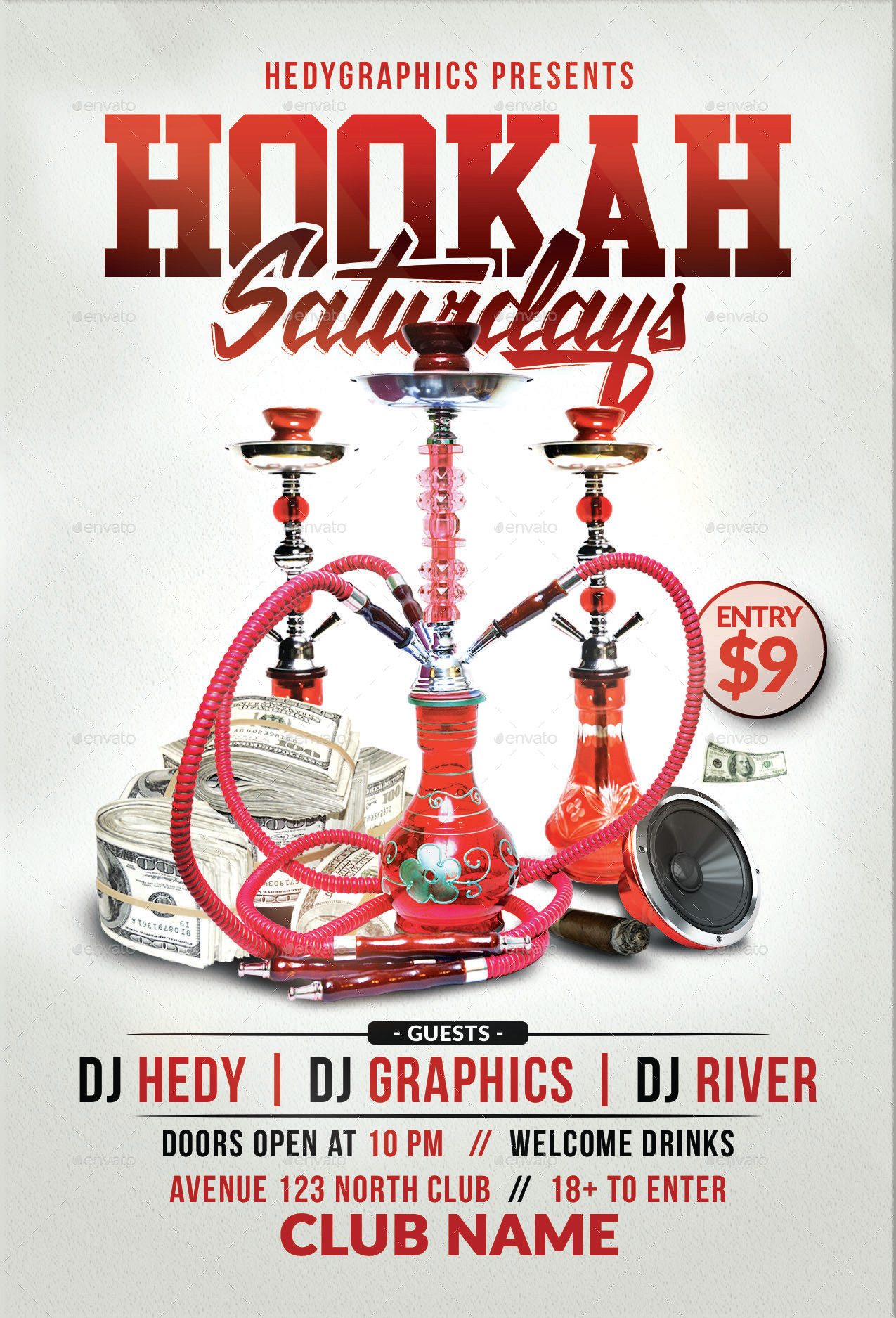 Hookah Saturdays Flyer Template By Hedygraphics