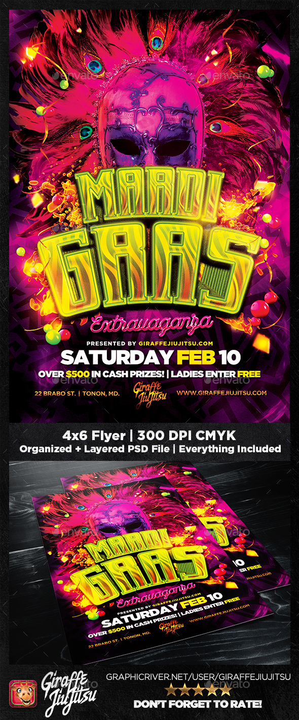 Mardi Gras Extravaganza Flyer Template - Holidays Events
