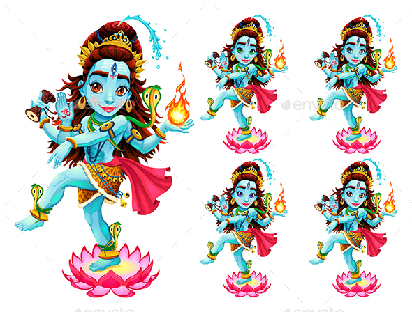 Funny Representation of Eastern God in 5 different Eye Colors - Religion Conceptual