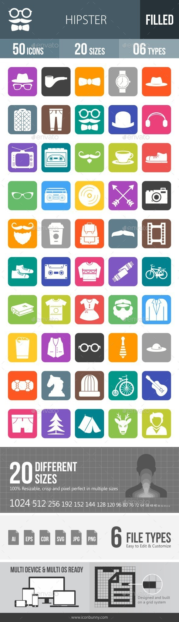 Hipster Flat Round Corner Icons - Icons