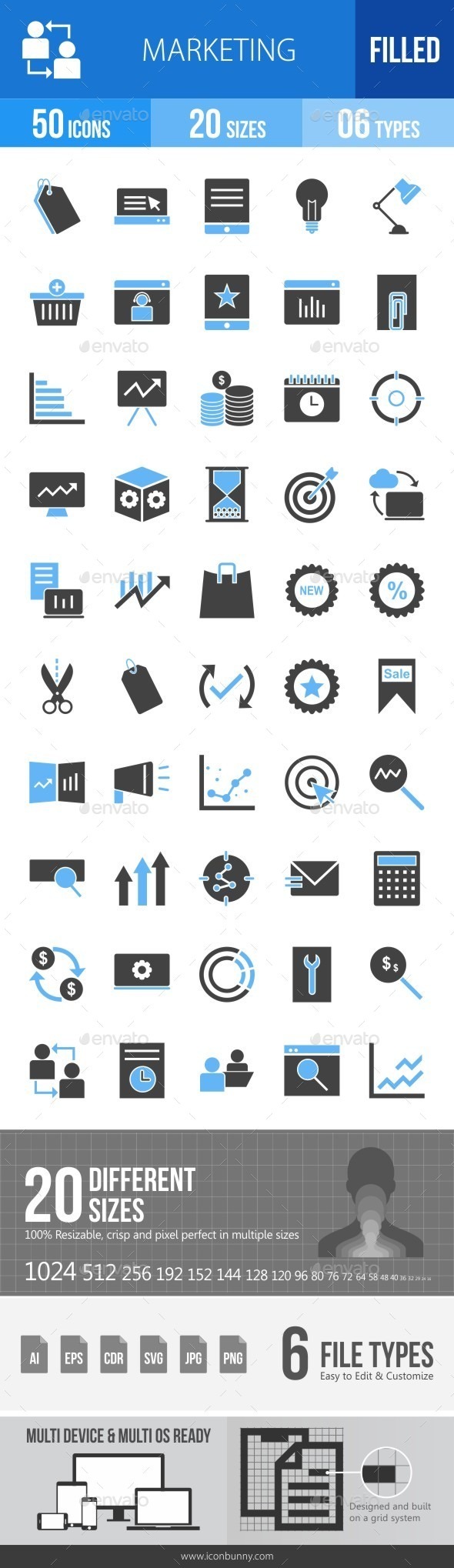 Marketing Blue & Black Icons - Icons