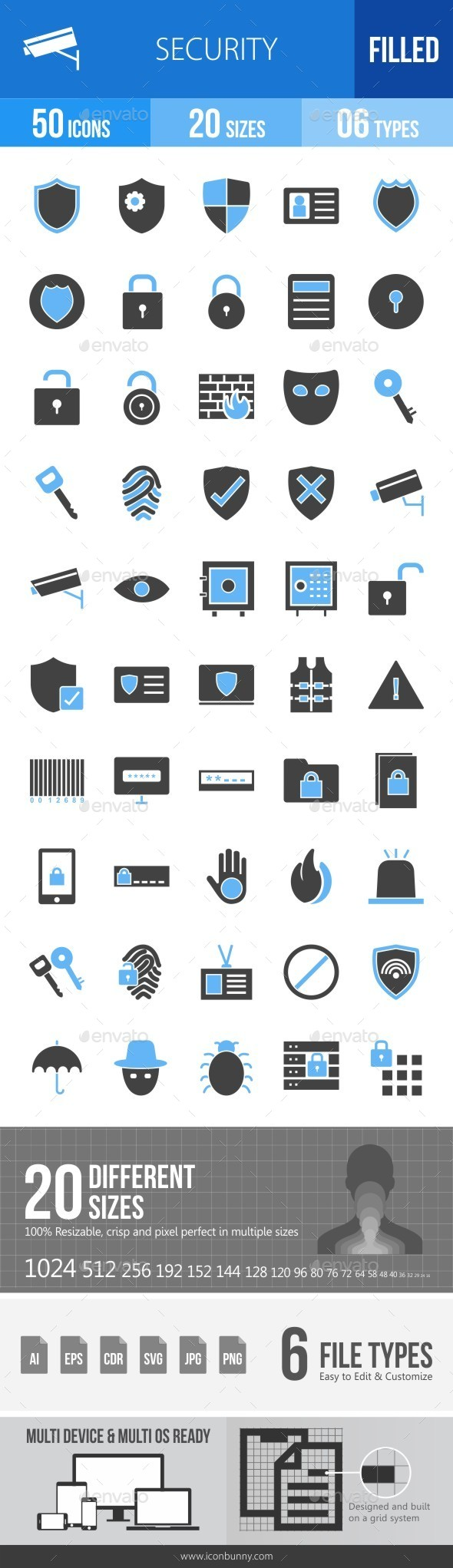 Security Blue & Black Icons - Icons