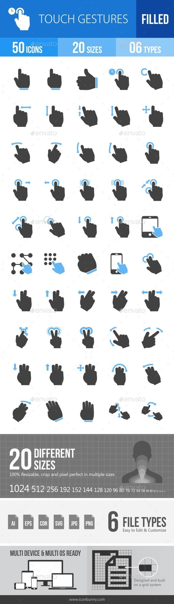 Touch Gestures Blue & Black Icons - Icons