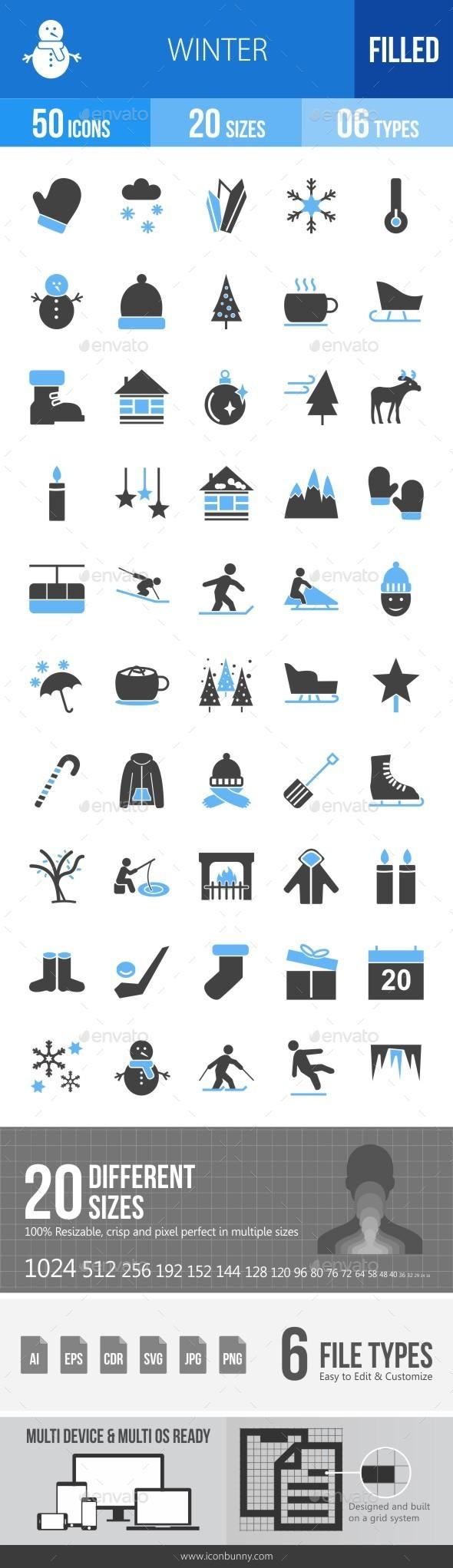 Winter Blue & Black Icons - Icons