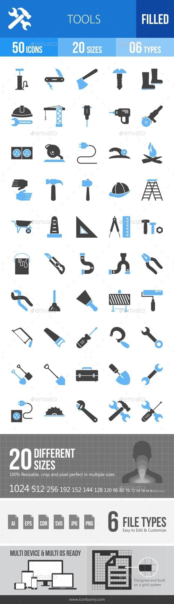 Tools Blue & Black Icons - Icons