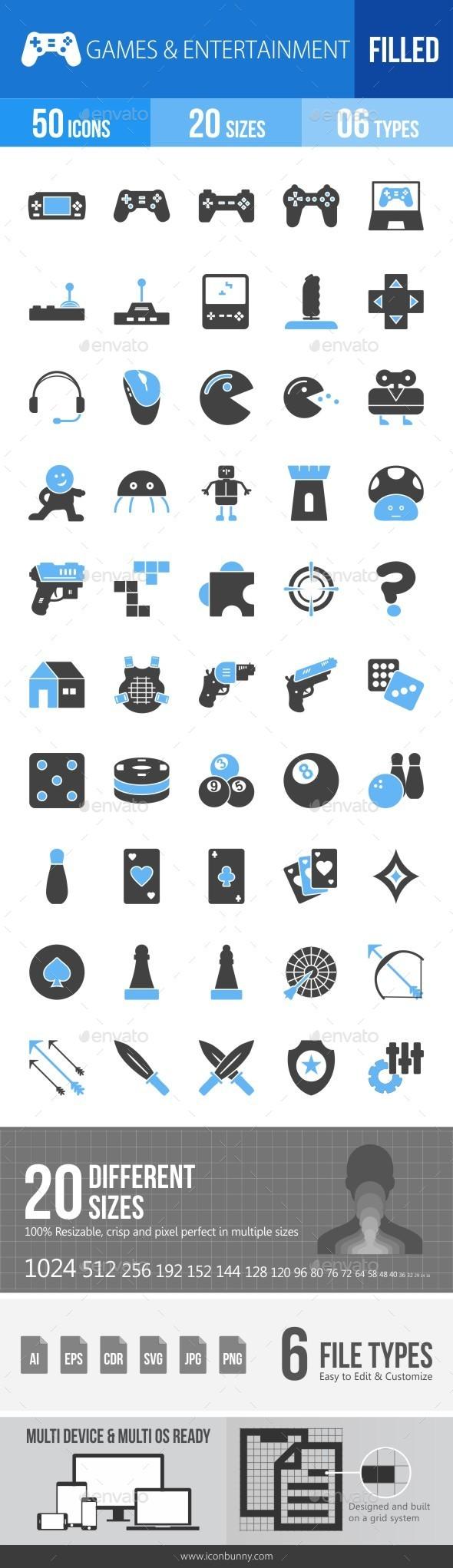 Games & Entertainment Blue & Black Icons - Icons