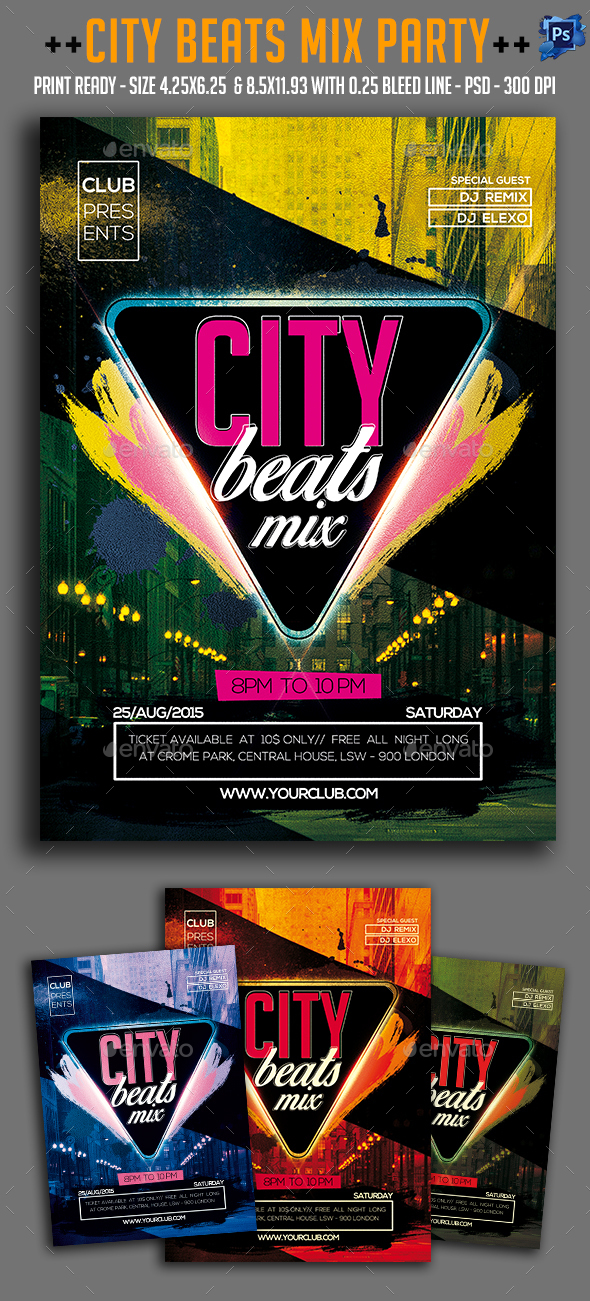 City Beats Mix Party Flyer  - Clubs & Parties Events