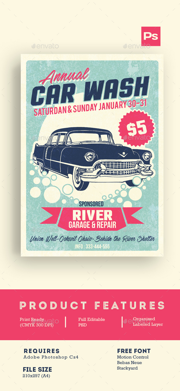 Car Wash Retro Style - Events Flyers
