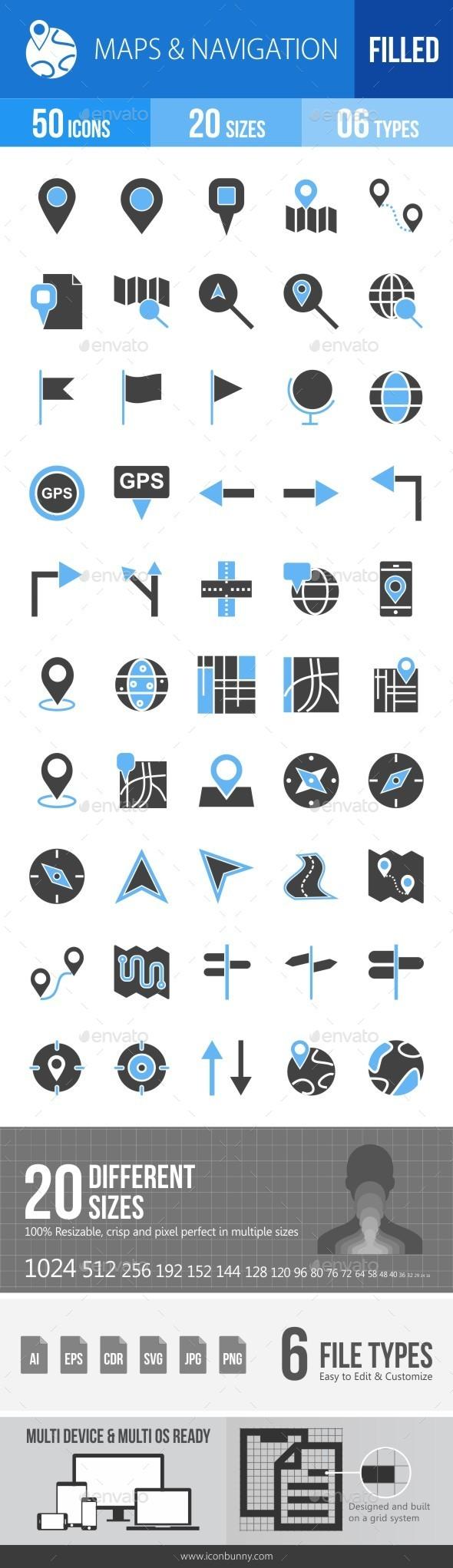Maps & Navigation Blue & Black Icons - Icons