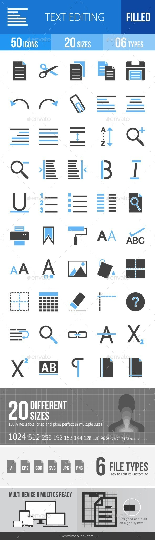 Text Editing Blue & Black Icons - Icons