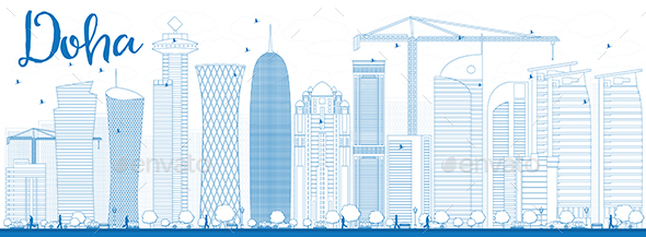 Outline Doha Skyline with Blue Skyscrapers. - Buildings Objects