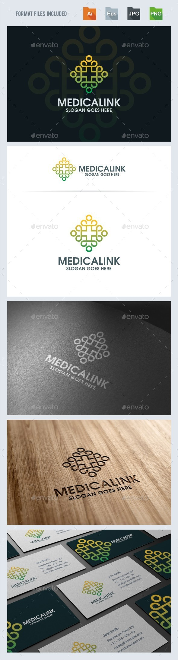 Medical Cross - Linked People Logo Template - Humans Logo Templates