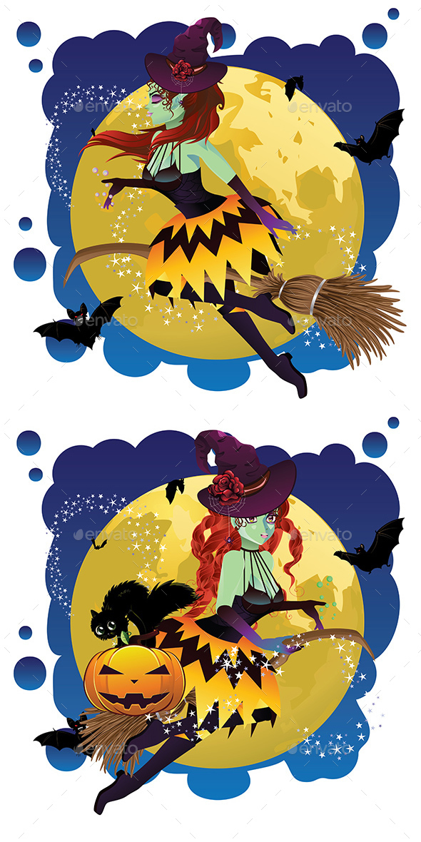 Witch and Full Moon - Halloween Seasons/Holidays
