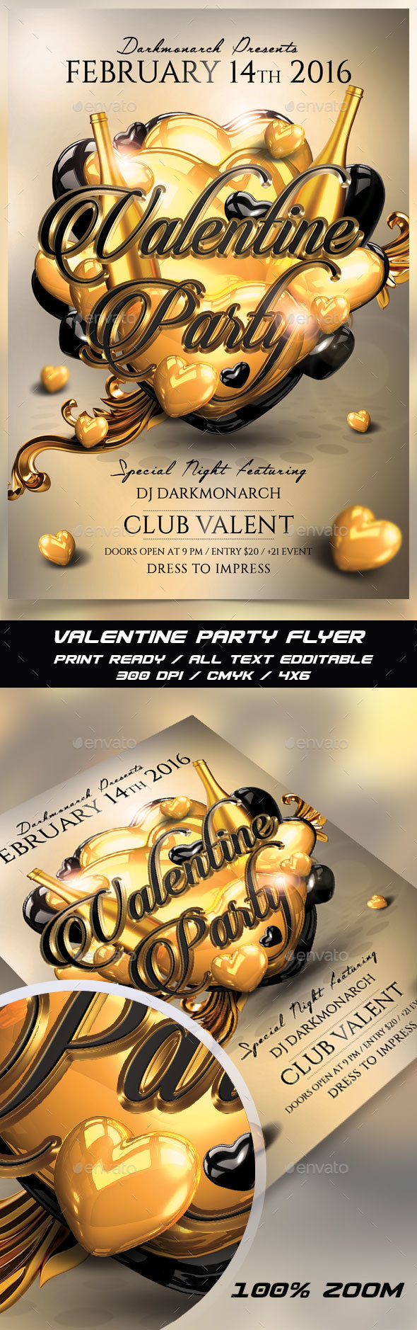 Valentine Party Gold Flyer  - Events Flyers