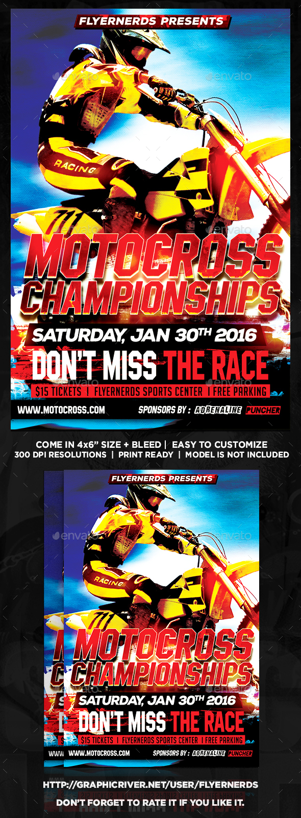 Motocross Championships Sports Flyer - Sports Events