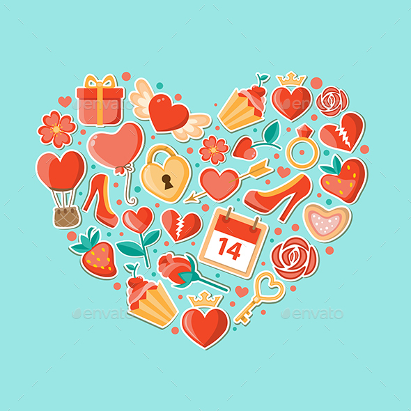 Decorative Background with Heart - Valentines Seasons/Holidays