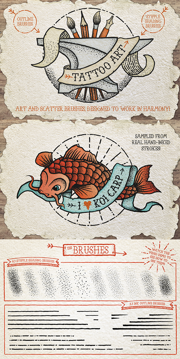 Tattoo Style Art Brushes - Brushes Illustrator