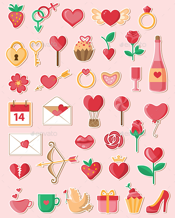 Valentine Icons in a Flat Style - Valentines Seasons/Holidays