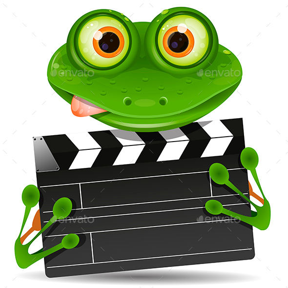 Frog with movie clapper - Animals Characters