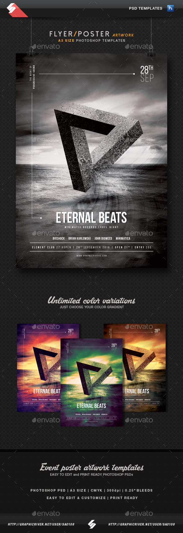 Eternal Beats - Progressive Party Flyer Template A3 - Clubs & Parties Events