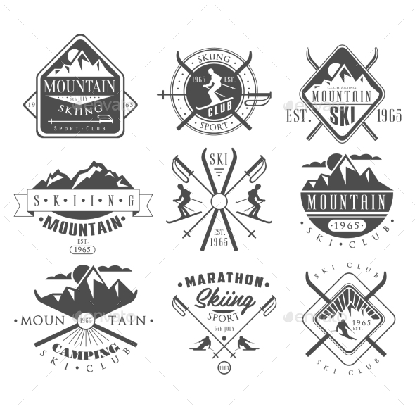 Vintage Skiing Labels and Design Elements Set - Sports/Activity Conceptual
