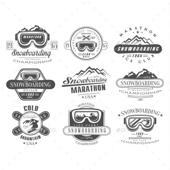 Snowboarding Logo and Label Template Set - Sports/Activity Conceptual