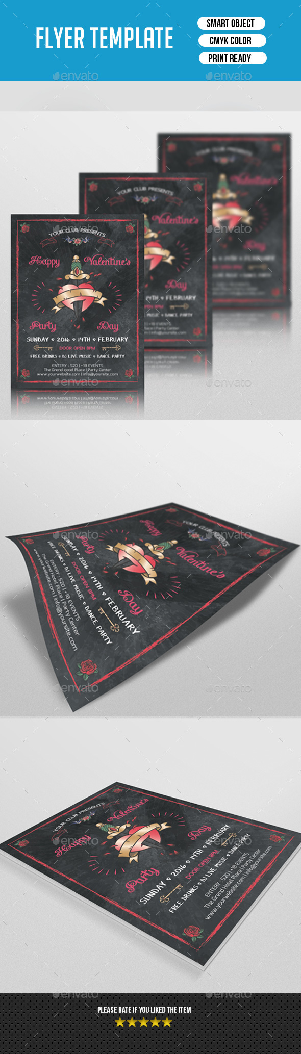 Valentine's Day Party Flyer-V128 - Clubs & Parties Events