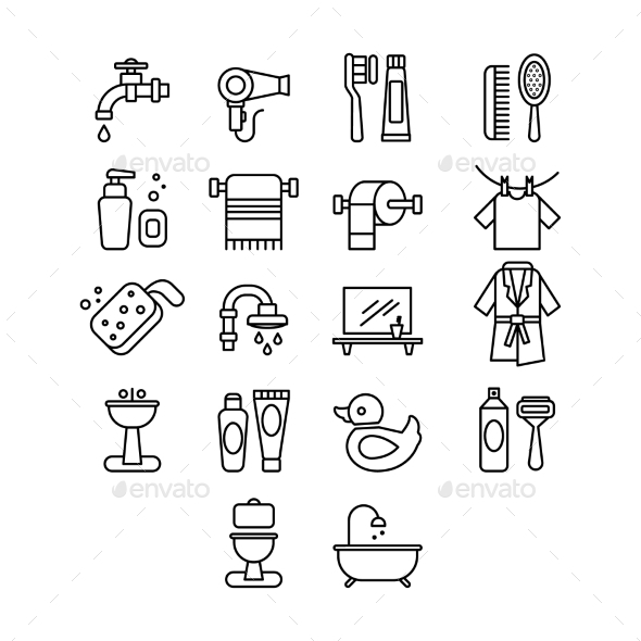 Hygienic and Bathroom Icons Set - Miscellaneous Vectors