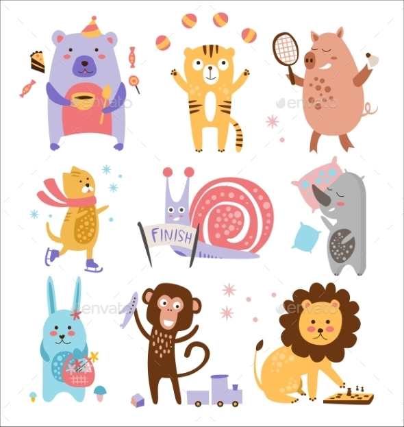 Colourful Childish Animals Set - Animals Characters